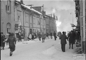 Tampere on fire during the winterwar 1939-1940